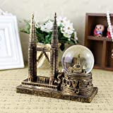 ZHD Twin Towers Architectural Model Creative Snowflake Crystal Ball Decoration Lantern Home Decoration (Golden)