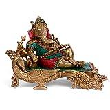 Large Resting Ganesha Idol Brass Sculpture Religious Ganesh Statue Diwali Decor Gift