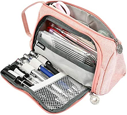 YOTINO Grande Estuche Rosa 3 compartimentos para niño Estuche de gran capacidad para guardar bolígrafos, bolígrafos, bolígrafos, maquillaje para niñas: Amazon.es: Oficina y papelería