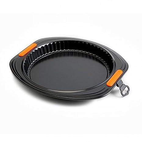 Le Creuset Molde Tarta con Base extraíble de Acero al Carbono Gama pâtisserie, Negro,