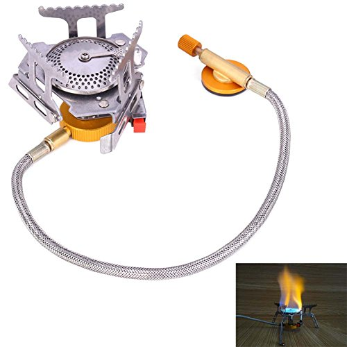 Outdoor Camping Gas Stove Cooking Foldable Split Burner Gas Top Stoves Big Power Windproof Campfire Cookware (Stove Camp Chef Alpine)
