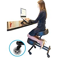 Sleekform Ergonomic Kneeling Chair for Posture - Knee Stool for Home and Office - Faux Leather - Sturdy Base and 50% Extra Padding for more Balance - Roller Blade Casters - 4 Thick Moulded Foam