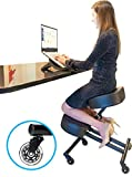 Cheap Sleekform Kneeling Chair for Perfect Posture | Ergonomic Knee Stool Relieving Back & Neck Pain | Adjustable Height | Rollerblade Wheels for Office & Home |4″ High Resilience Foam Faux Leather Cushions