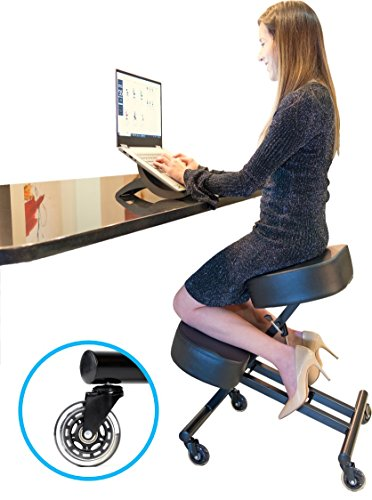 Sleekform Kneeling Chair for Perfect Posture | Ergonomic Knee Stool Relieving Back & Neck Pain | Adjustable Height | Rollerblade Wheels for Office & Home |4