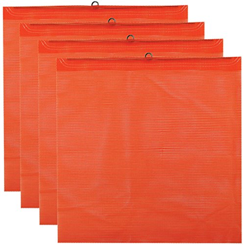 - Vulcan Brands Bright Orange Safety Flag with Wire Loop for Wide and Oversize Load Marking On Moving Vehicles (18'' x 18'' - Vinyl Coated Polyester Construction - 4 Pack)