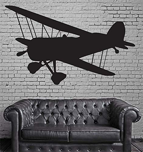 - paecui Wall Art Decor Decals Removable Mural Large Vintage Airplane Propeller Two Wings Biplane
