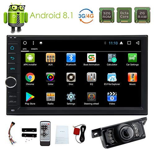 Android 8.1 Car Stereo 7 inch Car Bluetooth Radio with Octa Core Double Din in Dash Headunit Touchscreen Video Player FM/AM RDS Radio Receiver 2 Din GPS Navigation Rear View Camera