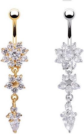 Acier inoxydable barre ventre nombril anneau cristal fleur Body Piercing femmes