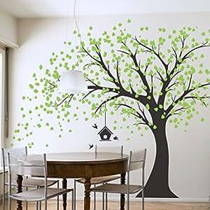 vinilo adhesivo para pared, diseño de árbol Gigante negro con hojas verdes, pájaros y jaulas, para decoración de dormitorio