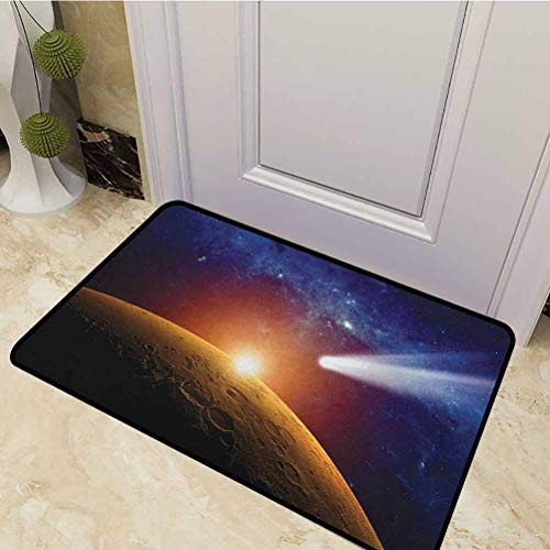 DESPKON Pet Mat Comet Tail Approaching Planet Mars Fantastic Cosmos Dark Solar System Scenery Low-Profile Front Back Door Rug for Entry, Patio, High Traffic Bue Orange 20 x 31 Inch
