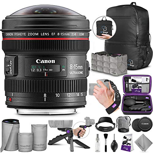 Canon EF 8-15mm f/4L Fisheye USM Ultra-Wide Zoom Lens with Altura Photo Essential Accessory and Travel Bundle (Canon Ef 15mm F 2-8 Fisheye Review)