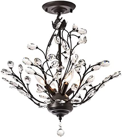 Maxax Modern Flush Mount Crystal Chandelier Lighting Ceiling Light Fixture Pendant Lamp