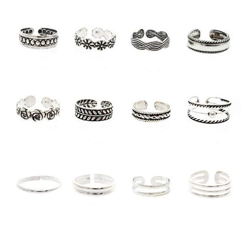 Toe Rings Toe Rings for Women 12pcs Fashion Retro Silver Carved Flower Adjustable Open Toe Ring Finger Foot Jewelry