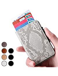 Brooben Credit Card Holder RFID Slim Leather Wallet Auto Pop-up Snake Gray