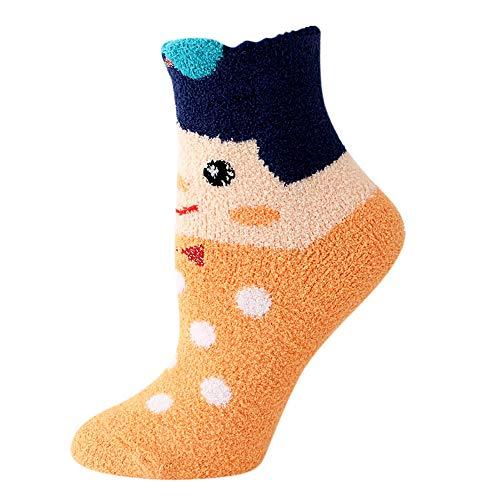URIBAKE Women Cartoon Socks Plus Velvet Thick Warm Cartoon Coral Fleece Casual Socks -