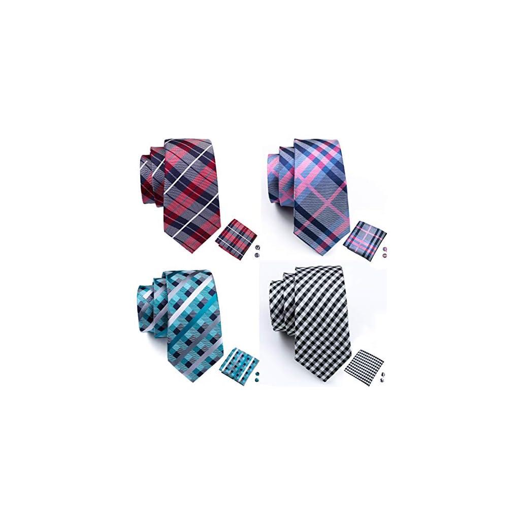 Barry.Wang Men's Tie Set Silk Wedding Neckties Jacquard Woven Fashion Formal Business