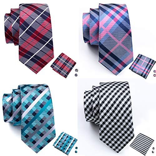 Barry.Wang Men's Tie Set Silk Wedding Neckties Jacquard Woven Fashion Formal Business (4PCS Tie Set-1)