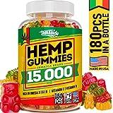 Hemp Gummies 15000 MG - Made in USA - 180 MG Hemp in Each Gummy - Premium Hemp Extract - CO2 Extraction - Omega 3, 6, 9 - Anxiety & Stress Relief - Sleep & Mood Improvement Larger Image