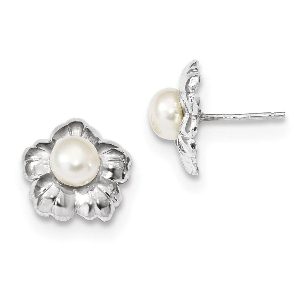 Jewels By Lux 14k White Gold Polished Button Post Earrings