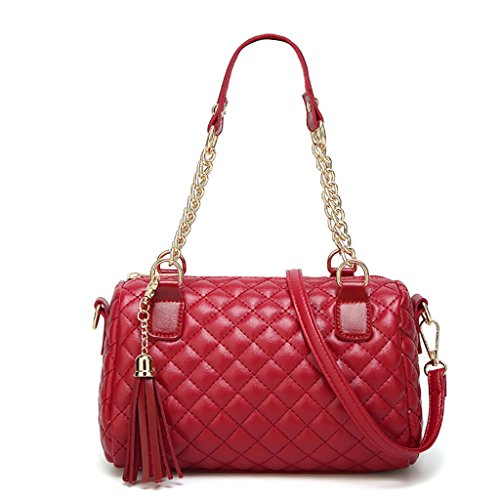 QJAIQQ Bolsos De Mujer Bolso De Cadena De Moda Lingge Bolso De Borla De Hombro,Red Red