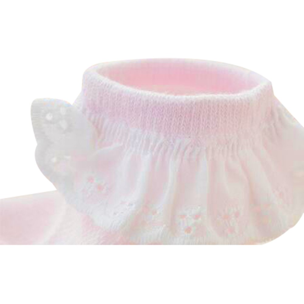 Baby Girls Non Skid Socks Race Ruffles Princess Ankle Socks 5 Pack
