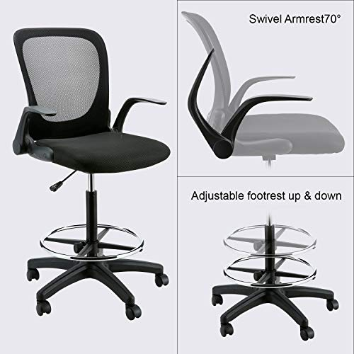 YOUNIS Drafting Chair with Black Fabric Seat, Adjustable Armrest and Foot Ring, Black Breathable mesh backrest, Reception Desk Chair, Tall Office Chair