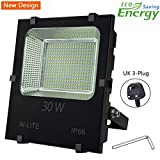 30W Led Garden Flood Lights Outdoor Waterproof Floodlight (with UK 3-Plug), Upgraded Workshop Light, Super Bright 180 LED, 3300LM, Soft Daylight White, 360W Equivalent, Input 86-265V.