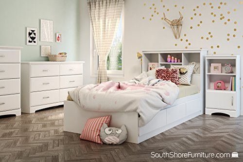 South Shore Callesto 6-Drawer Double Dresser, Pure White with Dull Nickel Handles - Metal handles in a dull nickel Finish Profiled drawer fronts, for a Classic touch Metal drawer slides, for smooth gliding - dressers-bedroom-furniture, bedroom-furniture, bedroom - 51FkadDfeYL -