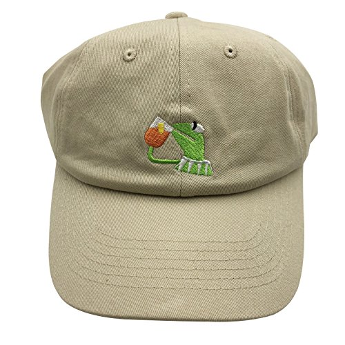 Frog Baseball Hat - Kermit The Frog Dad Hat Baseball Cap Sipping Sips Drinking Tea Champion Adjustable Beige