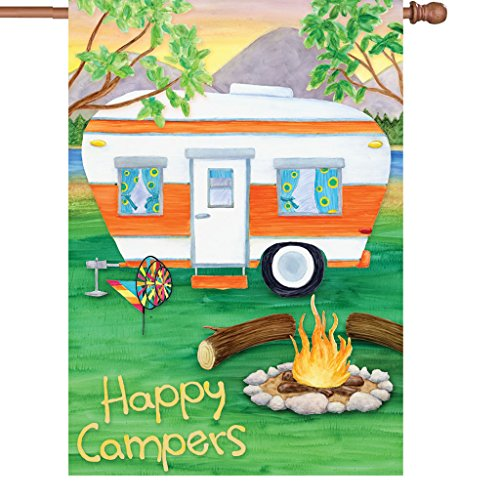 Happy Campers Flag made our camp flag list of the most awesome camping flag and cool rv flags and camping flags spinners
