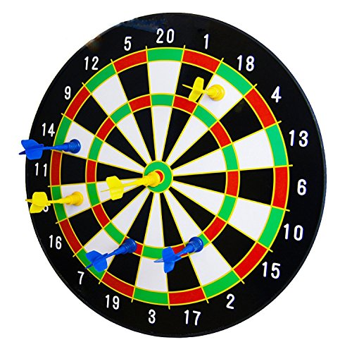 The Magic Toy Shop 16' Magnetic Dart Board Dartboard with 6 Darts Party...