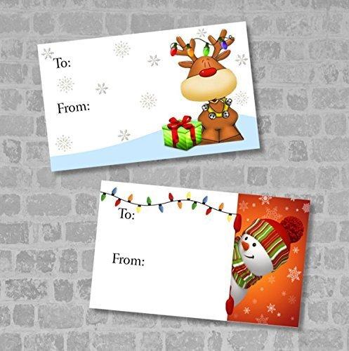 Christmas Gift Tags, Reindeer and Snowman Christmas Gift Tags, Christmas Gift Labels, Set of 30
