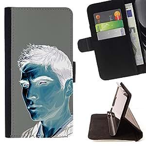 BullDog Case - FOR/Samsung Galaxy S6 EDGE / - / MAN BLUE WHITE GREY PAINTING PORTRAIT /- Monedero de cuero de la PU Llevar cubierta de la caja con el ID Credit Card Slots Flip funda de cuer