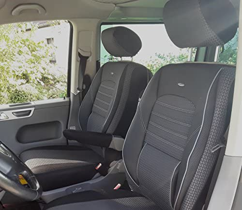 Seatcovers By K Maniac Sitzbezüge T5 T6 T6 1 Multivan California Kombi Caravelle Transporter Kasten Elite Fahrersitz Beifahrersitz Armlehnen Schwarz Anthrazit T11 Auto