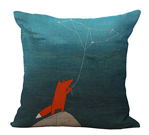 Hand-painted cartoon animal fox Cotton Linen Throw Pillow covers Case Cushion Cover Sofa Decorative Square 18 inch (Fox and stars) -