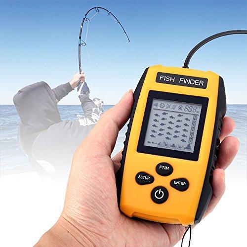Portable Fish Finder Sonar Technology 100m Depth Range Fish Alarm Adjustable Sensitivity Depth Scale Fish Size Detection