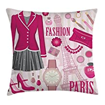 Girly Decor Throw Pillow Cushion Cover by Ambesonne, Fashion Theme in Paris with Outfits Dress Watch Purse Perfume Parisienne Decor, Decorative Square Accent Pillow Case, 20 X 20 Inches, Pink Biege