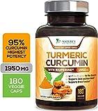 Turmeric Curcumin Highest Potency 95% Standardized Curcuminoids 1950mg with Bioperine for Best Absorption