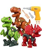 Take Apart Dinosaur Toys for Kids - Building Toy Set with Electric Drill Construction Engineering Play Kit STEM Learning for Kids Age 3 4 5 6 7 Year Old