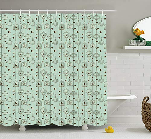 Ambesonne Vintage Shower Curtain, Pattern with Birds and Cages Illustration Freedom and Escape Artwork, Cloth Fabric Bathroom Decor Set with Hooks, 75