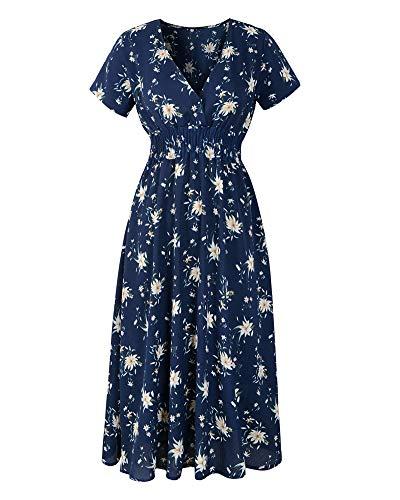 (Mengtote Women's Floral Dress Deep V Neck Short Sleeve Loose Plain Midi Dress Casual Chiffon Boho Dresses Blue M)