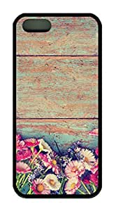 Colorful Flower Theme Case for iPhone 5 5S Rubber Material Black