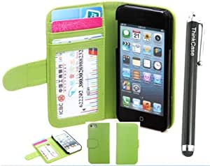 iphone 5 case,case for iphone 5,leather case for iphone 5,Thinkcase iPhone 5 5S Book Design Premium PU Leather Wallet Case With Card Holder casefor iphone 5 5S Green with thinkcase stylus pen