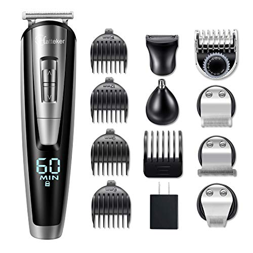 HATTEKER Mens Beard Trimmer Kit Cordless Mustache Trimmer Hair Clippers Trimmers Groomer Kit Nose Hair Trimmer Waterproof 5 In 1