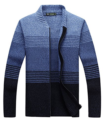 fanhang Men's Color Gradient Cardigan Sweater