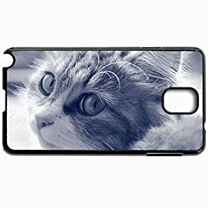 Customized Cellphone Case Back Cover For Samsung Galaxy Note 3, Protective Hardshell Case Personalized Cat Face Furry Eyes Black White Black