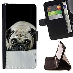 Stuss Case / Funda Carcasa PU de Cuero - Pug Arrugas Sad Sad Peque?o Pelo Corto Perro - Samsung Galaxy A5 ( A5000 ) 2014 Version