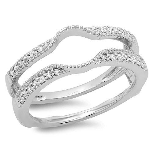 Dazzlingrock Collection 0.25 Carat (ctw) 14K Round Cut Diamond Wedding Enhancer Guard Double Ring 1/4 CT, White Gold, Size 7