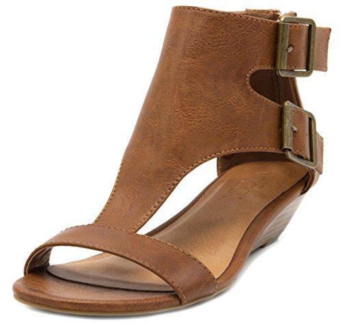 Sugar Women's Wigout Demi Wedge Sandal 8.5 Burnished Cognac (Brown Sandals Leather)