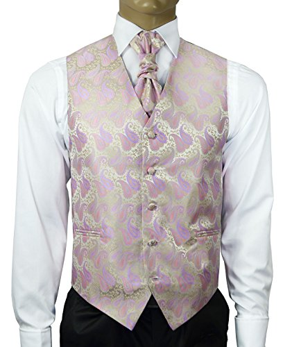 Cashmere Rose and Gold Wedding Vest with Tie , Cravat, Pocket Square and Cufflinks (Tuxedo Rose Vest)